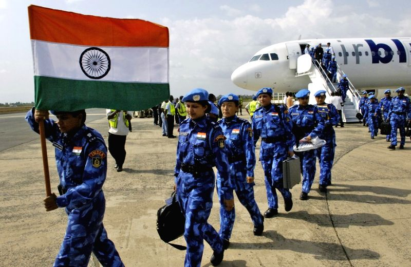 Contingent of Indian women police arrive in Liberia in 2007 to participate in the United Nations peacekeeping mission in the African nation. They made history as the first all-women police unit to be ...