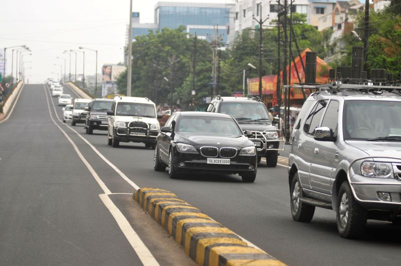 Convoy rehearsal underway ahead of Prime Minister Narendra Modi's visit in Nagpur on Aug 20, 2014. Modi is set to visit the city on 21st August. - Narendra Modi