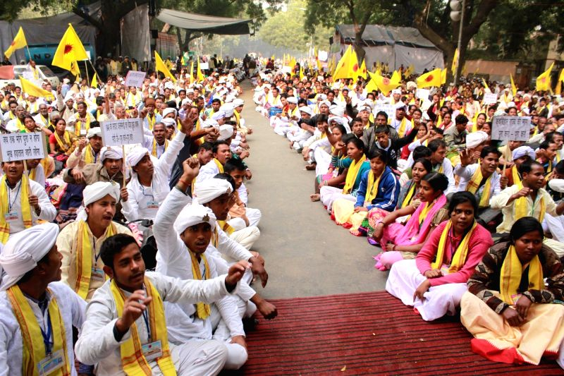 Cooch Behar People's Association members go on a hunger strike to press for their demands of a separate state at Jantar Mantar in New Delhi on Dec 8, 2015.