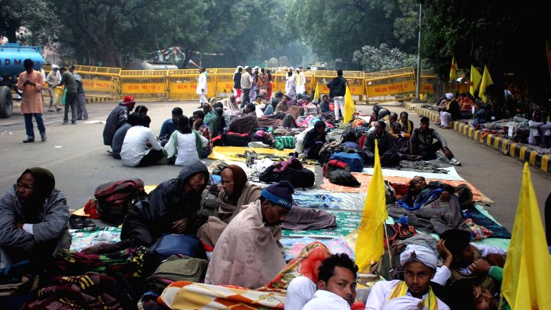 Cooch Behar People's Association members go on a hunger strike to press for their demands of a separate state at Jantar Mantar in New Delhi on Dec 9, 2015.