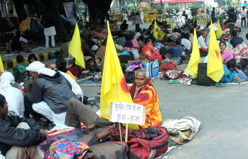 Cooch Behar People's Association members go on a hunger strike to press for their demands of a separate state at Jantar Mantar in New Delhi on Dec 11, 2015.