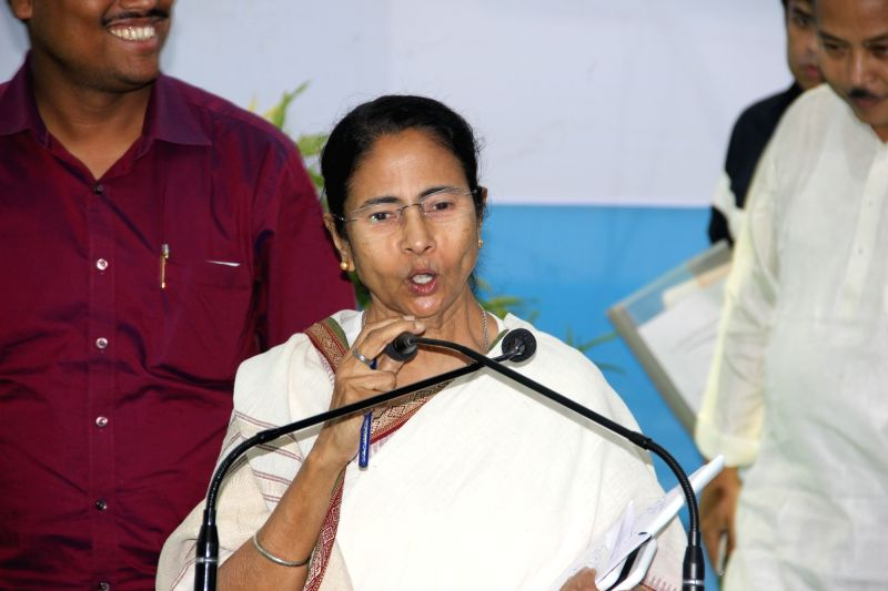 Cooch Behar: West Bengal Chief Minister Mamata Banerjee during an administrative meeting in Cooch Behar district of the state on April 24, 2017. - Mamata Banerjee
