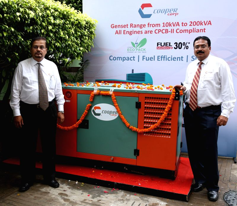Cooper Corporation Pvt Ltd General manager -Engine Business Rajesh S Walke, company's Deputy General Manager -Engine Business Avinash Bhosale during launch of New CPCB II Compliant Generators in ...