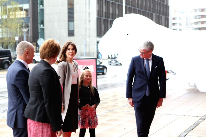 COPENHAGEN, April 24, 2017 - Crown Princess of Denmark Mary (3rd L) arrives to attend the opening ceremony of the Danish Science Festival in Copenhagen, Denmark, on April 24, 2017. Denmark launched a ...