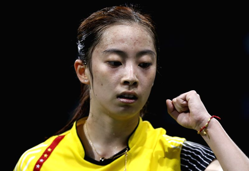 Wang Shixian of China celebrates during the Women's Singles Round 1 match against Pui Yin Yip of China's Hong Kong on Day 3 of Li Ning BWF World Championships ...
