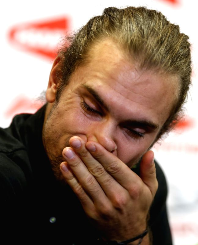 Jan O Jorgensen of Denmark looks dejected during the press conference for his Men's Singles Round 3 match against Chou Tien Chen of Chinese Taipei on Day 4 of Li