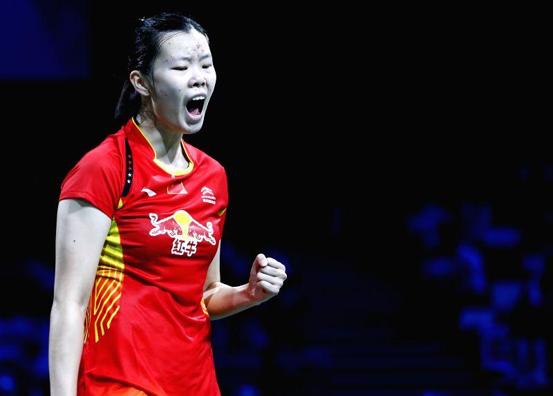 Li Xuerui of China celebrates during the Women's Singles Semifinal against Minatsu Mitani of Japan on Day 6 of Li Ning BWF World Championships 2014 at Ballerup ...