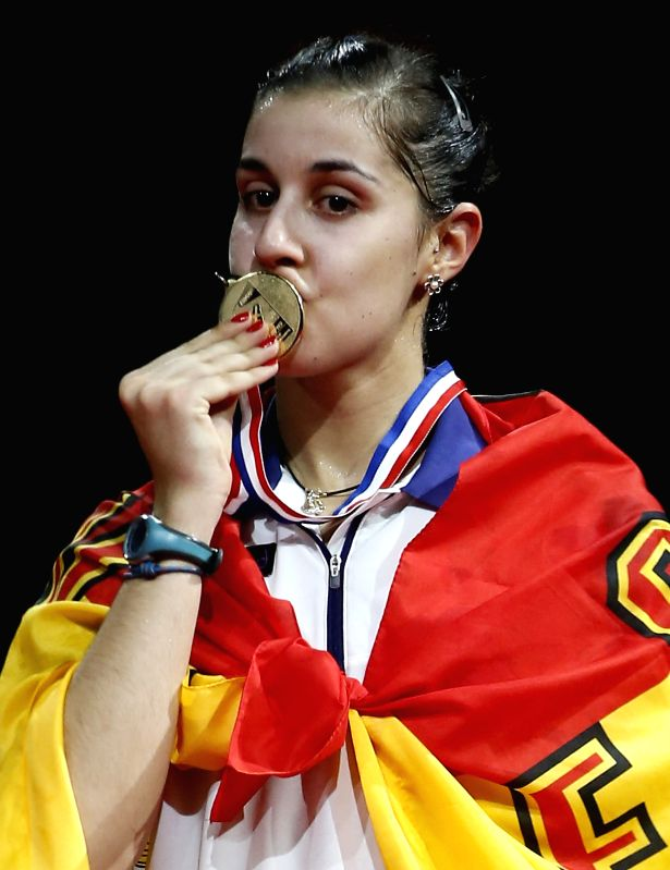 Carolina Marin of Spain celebrates during the awarding ceremony for the Women's Singles Final on Day 7 of Li Ning BWF World Championships 2014 at Ballerup Super ..