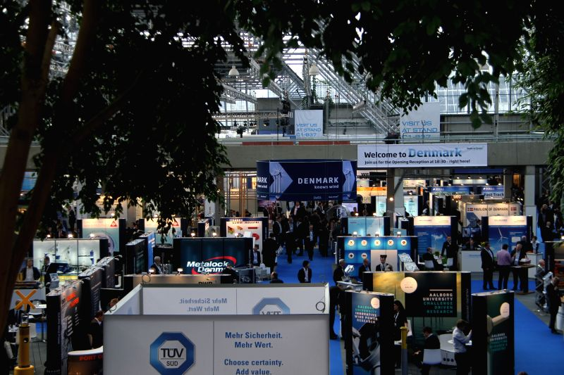 People visit the EWEA Offshore 2015 at the Bella Center conference and exhibition center in Copenhagen, Denmark, on March 10, 2015. EWEA Offshore 2015, ...
