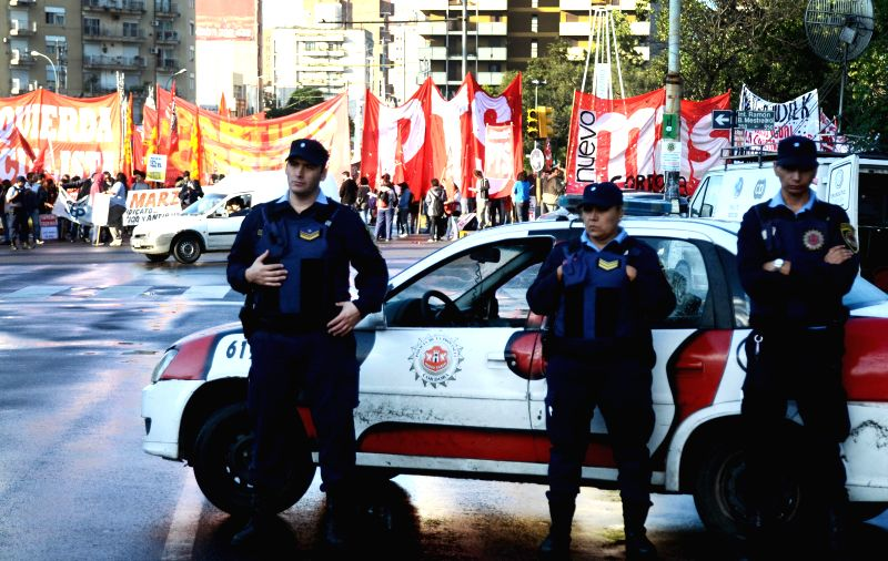 Policemen guard during the general strike day in Cordoba, Argentina, on March 31, 2015. The strike across the country was called by the General Workers ...