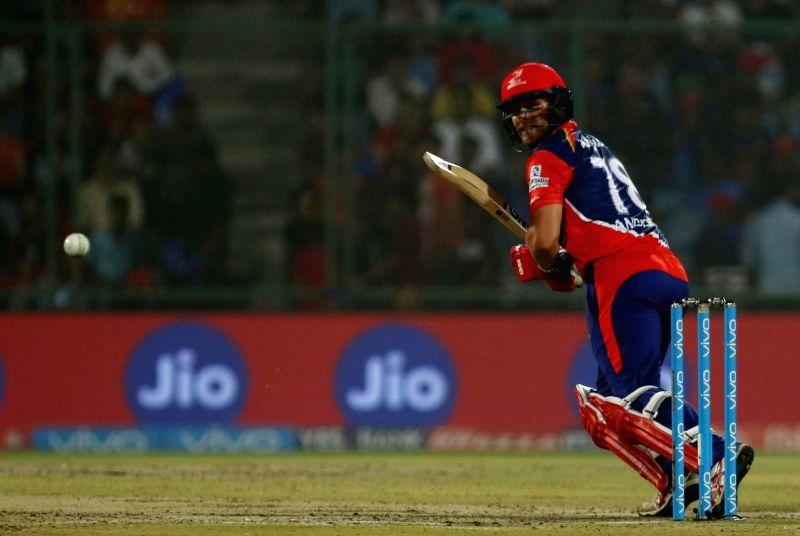 Corey Anderson of Delhi Daredevils in action during an IPL 2017 match between Mumbai Indians and Delhi Daredevils at Feroz Shah Kotla in New Delhi, on May 6, 2017. - Feroz Shah Kotla