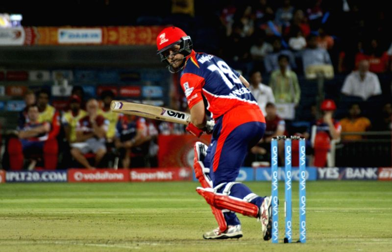 Corey Anderson of the Delhi Daredevils plays a shot during an IPL 2017 match between Rising Pune Supergiant and Delhi Daredevils at Maharashtra Cricket Association Stadium in Pune on April 11, ...