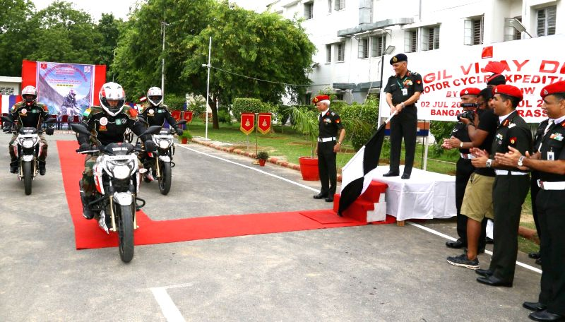 "Corps of Military Police AG & Col Comdt Lt Gen Ashwani Kumar flags off the New Delhi leg of ""Bangalore to Drass Motorcycle Expedition"" from New Delhi on July 16, 2018. - Ashwani Kumar"