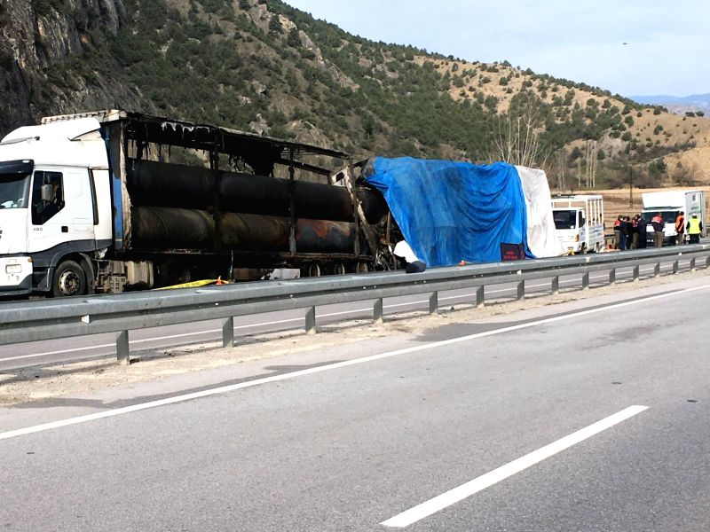 CORUM, March 13, 2018 - Photo taken on March 13, 2018 shows the site of a bus accident in Corum, northern Turkey. A bus crashed into a parked truck Tuesday morning in Turkey's northern province of ...