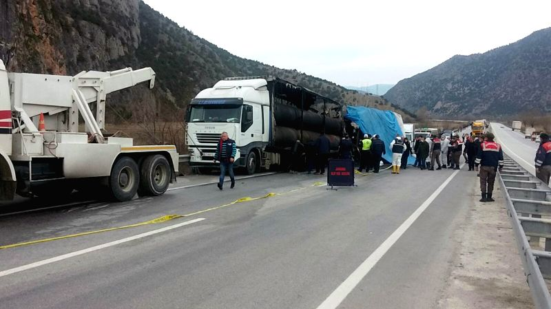 CORUM, March 13, 2018 - Rescue workers inspect the site of a bus accident in Corum, northern Turkey on March 13, 2018. A bus crashed into a parked truck Tuesday morning in Turkey's northern province ...