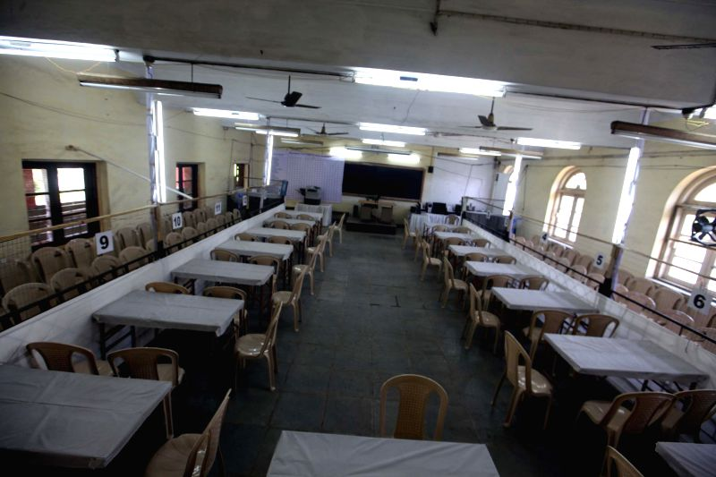 Counting centre for 2014 Lok Sabha Elections setup at D G Ruparel College in Mumbai on May 15, 2014.