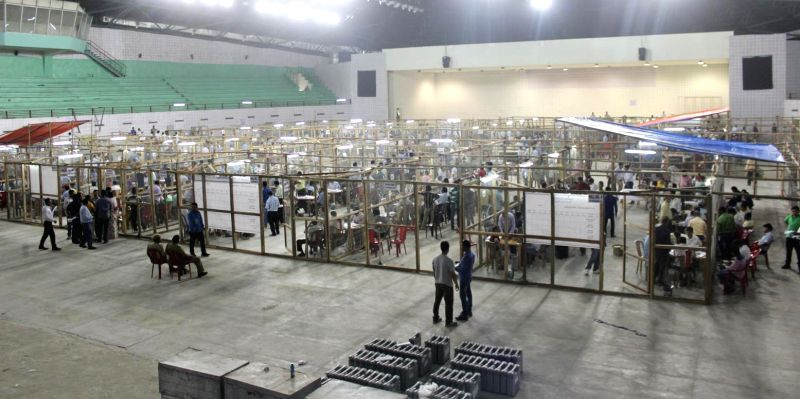 Counting of votes cast during 2016 Assam Assembly Polls underway at Rajiv Gandhi Indoor Stadium in Amingaon of Assam's Kamrup district on May 19, 2016.