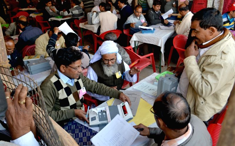 Counting of votes casted during recent Uttar Pradesh local body polls underway in Mathura on Dec 1, 2017.