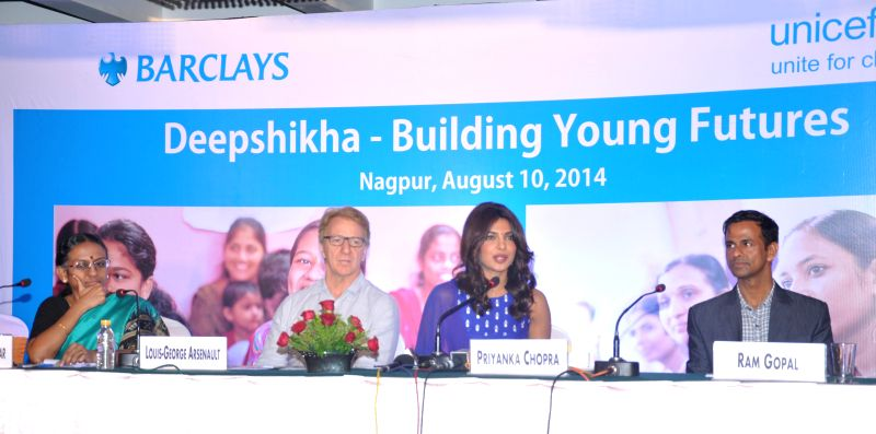 Country Representative for UNICEF India George Arsenault,  UNICEF  India  Ambassador actress Priyanka  Chopra and others during a programme organised ahead of International Youth Day at Nagpur in ...