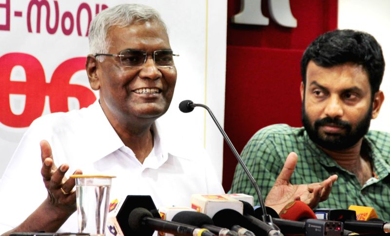 CPI leader D Raja addresses a press conference in Kannur of Kerala on May 9, 2016.