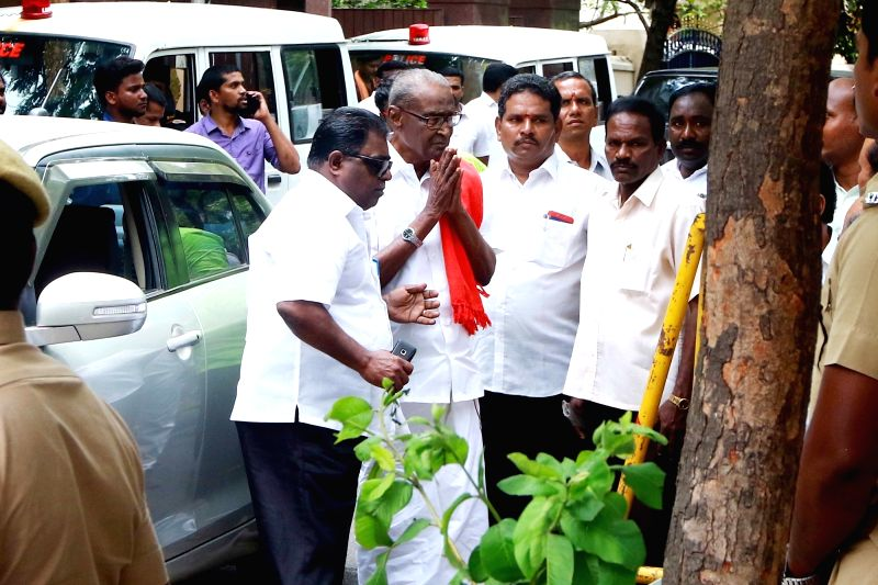 CPI leader Tha Pandian visits DMK President M. Karunanidhi at his Gopalapuram residence, in Chennai, on July 27, 2018. M. Karunanidhi (94) is suffering from urinary tract infection and is ...