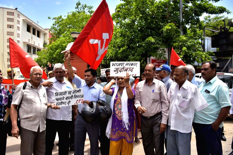 CPI-M activists stage a demonstration against  killing of five farmers in Madhya Pradesh's Mandsaur district; in Jaipur on June 8, 2017.