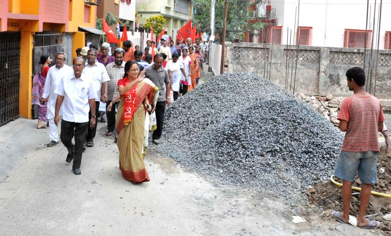 CPI(M) candidate from South Kolkata Parliamentary Constituency, Nandini Mukherjee during an election campaign in Kolkata on May 10, 2014.