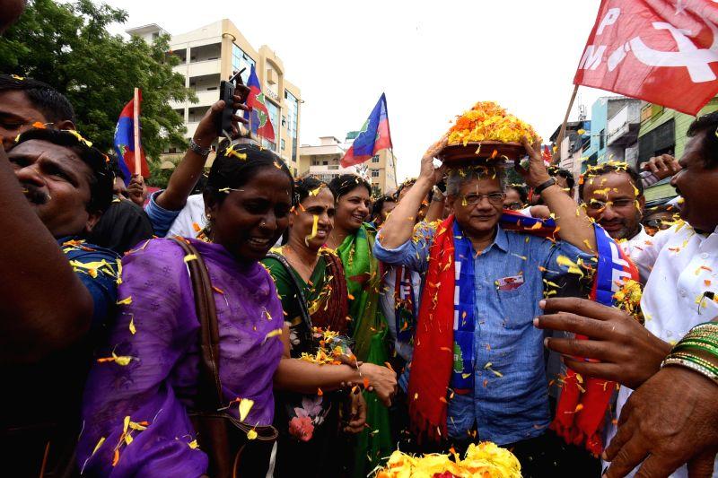 CPI-M General Secretary Sitaram Yechury participates in 'Bonalu' festival celebrations, in Hyderabad on July 15, 2018. Bonalu is celebrated in parts of Hyderabad and its twin city ... - Sitaram Yechury