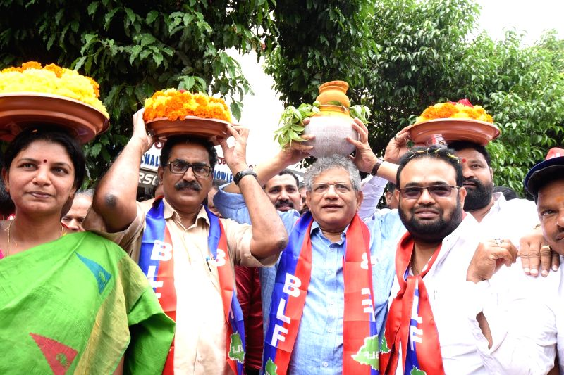 CPI-M General Secretary Sitaram Yechury participates in 'Bonalu' festival celebrations, in Hyderabad on July 15, 2018. Bonalu is celebrated in parts of Hyderabad and its twin city ... - Sitaram Yechury
