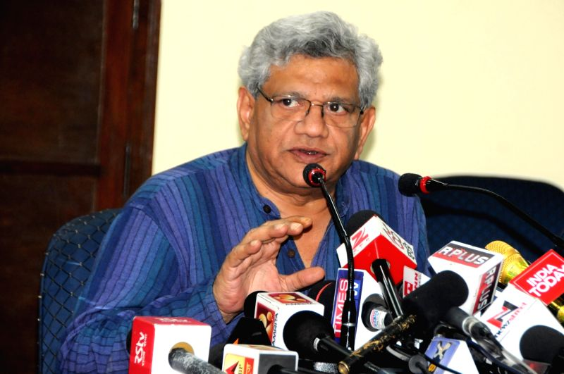 CPI-M General Secretary Sitaram Yechury addresses a press conference in New Delhi on June 7, 2017. - Sitaram Yechury