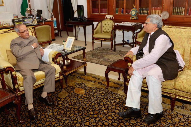 CPI-M General Secretary Sitaram Yechury calls on President Pranab Mukherjee at Rashtrapati Bhawan  in New Delhi, on Nov 26, 2015. - Pranab Mukherjee