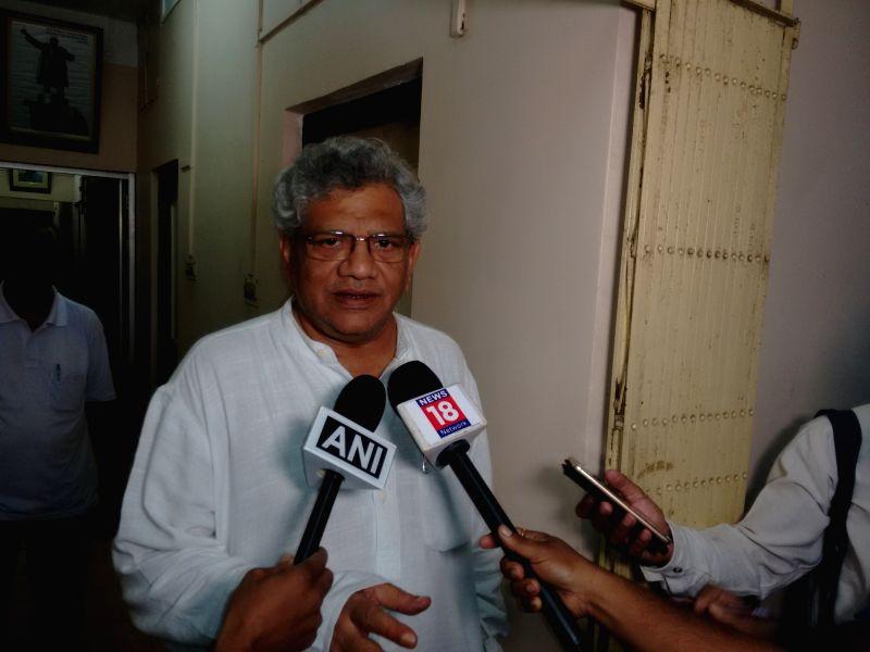CPI-M General Secretary Sitaram Yechury talks to press in Agartala on May 15, 2017. - Sitaram Yechury