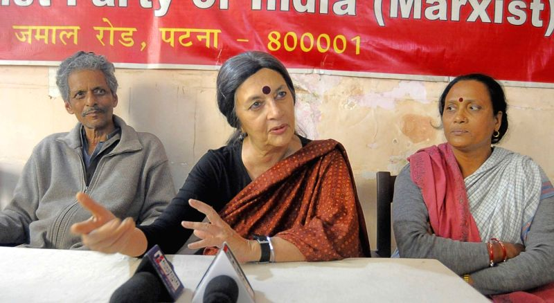 CPI-M leader Brinda Karat addresses a press conference in Patna on Dec 1, 2017.