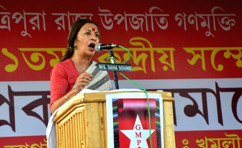 CPI(M) leader Brinda Karat addresses at the inaugaration of a three-day conference of the Tripura Upajati Ganamukti Parishad (GMP) in Khumlung near Agartala on Aug 3, 2016.