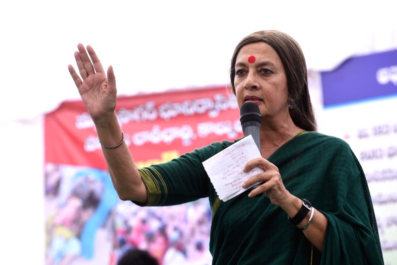 CPI(M) leader Brinda Karat addresses during a demonstration against the Telangana government over the controversial Mallanna Sagar Project in Hyderabad, on July 26, 2016.