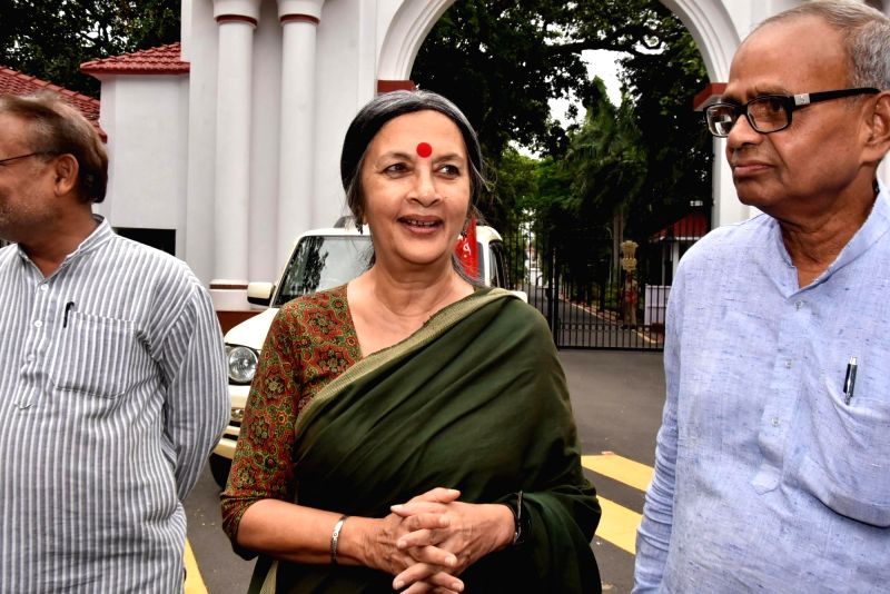 CPI-M leader Brinda Karat after meeting Jharkhand Governor over deaths due to starvation in the state; in Ranchi on June 10, 2018.