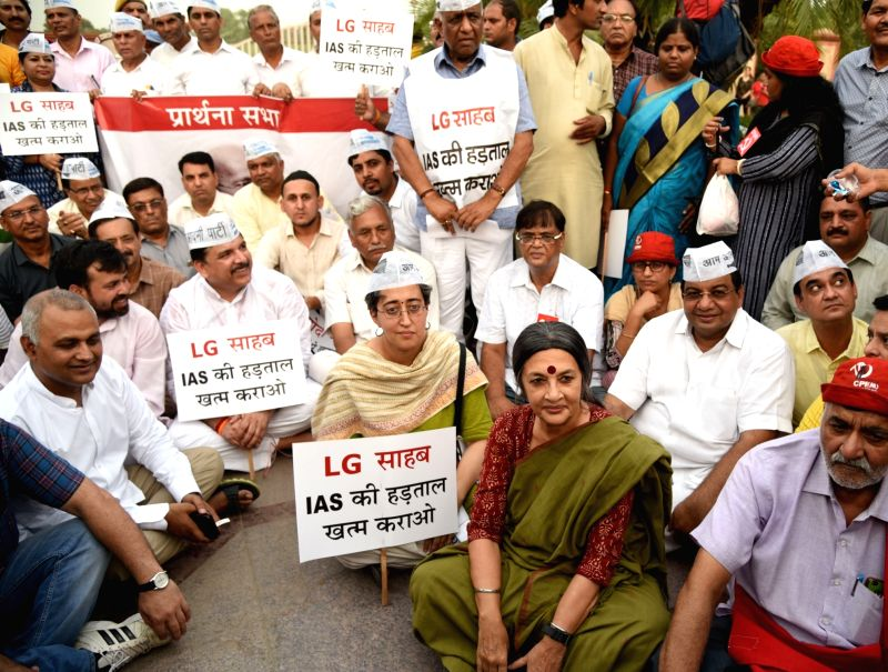 CPI-M leader Brinda Karat joins AAP demonstration in support of Delhi Chief Minister Arvind Kejriwal at Raj Ghat in New Delhi, on June 14, 2018. - Arvind Kejriwal