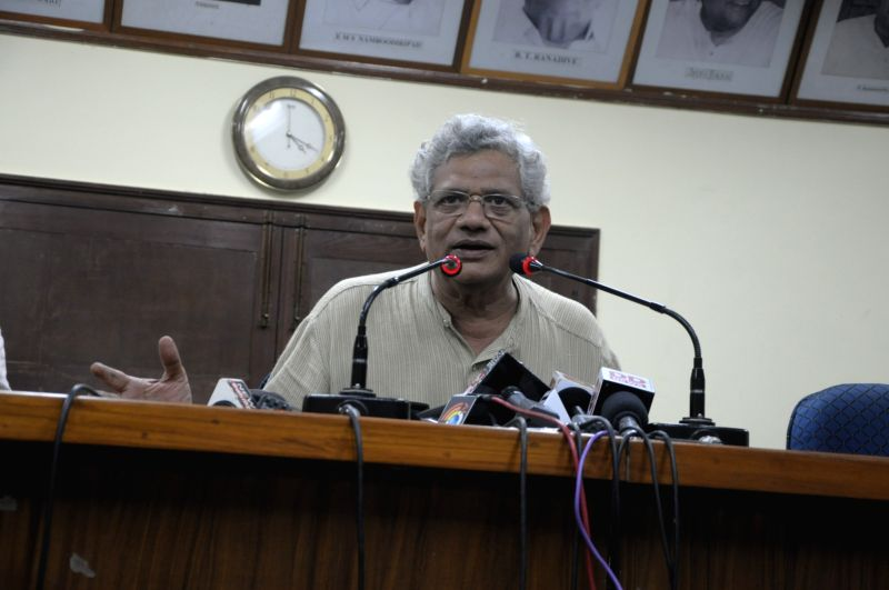 CPI-M leader Sitaram Yechury addresses a press conference, in New Delhi, on July 26, 2018. - Sitaram Yechury