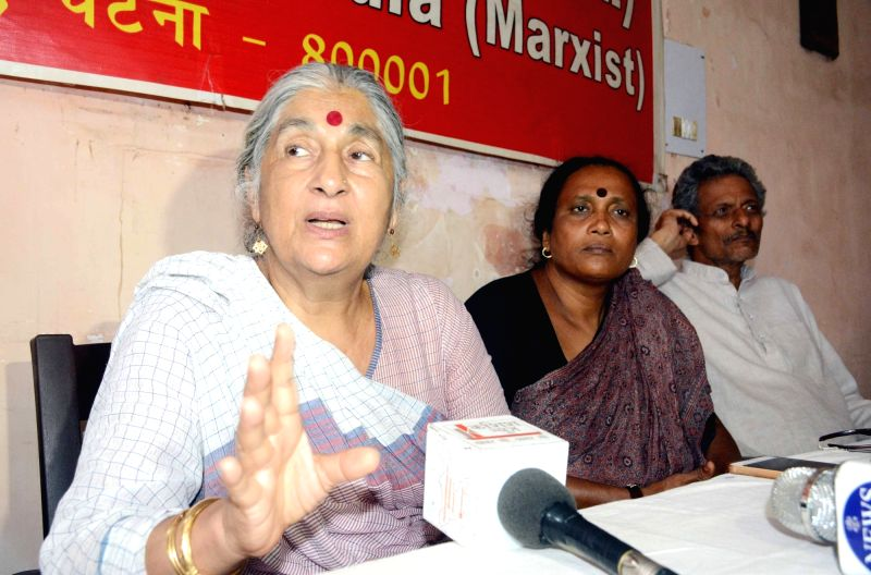 CPI-M leader Subhashini Ali addresses during a press conference, in Patna, on July 27, 2018.