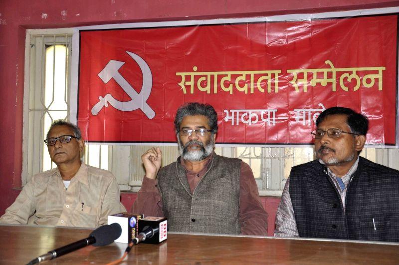 CPI-ML General Secretary Dipankar Bhattacharya addresses a press conference in Patna, on Nov 28, 2015.