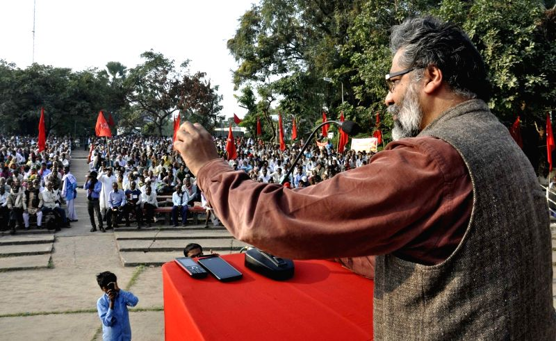 CPI-ML general secretary Dipankar Bhattacharya addresses a rally in Patna on Dec 3, 2015.