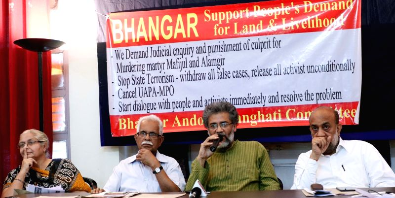 CPI(ML) General Secretary Dipankar Bhattacharya and others during a press conference against West Bengal Government's repression in Bhangar; in New Delhi, on May 5, 2017.