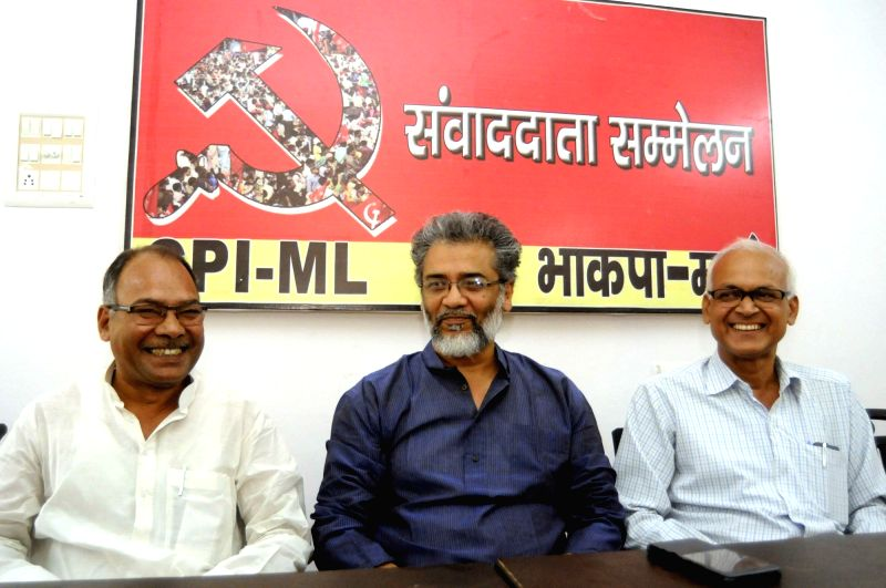 CPI-ML General Secretary Dipankar Bhattacharya during a press conference in Patna on April 13, 2018.
