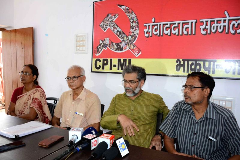 CPI-ML General Secretary Dipankar Bhattacharya addresses a press conference, in Patna on Aug 9, 2018.