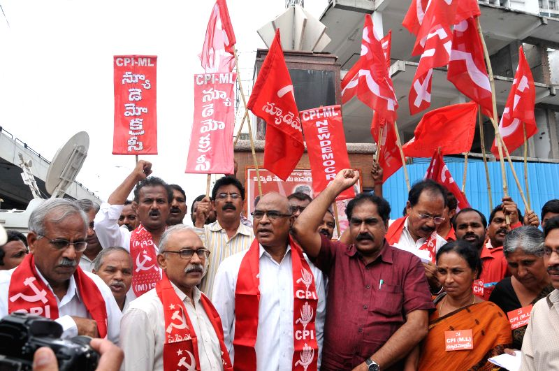 CPI-ML leaders pay tribute to Basheerbagh Electricity Movement Martyrs at Basheerbagh in Hyderabad on Aug 28, 2014.