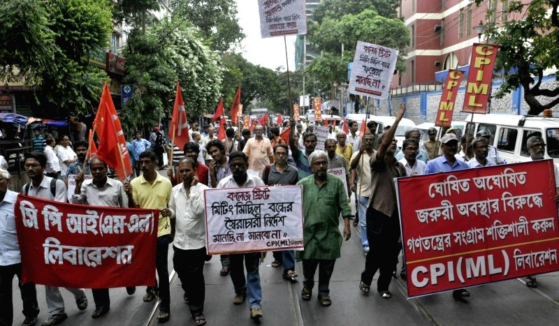 CPI (ML) Liberation activists take out a protest rally in Kolkata on June 5, 2017.