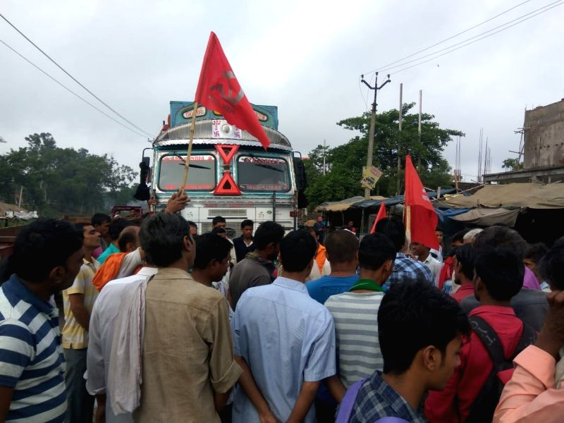 CPI-ML workers block streets and disrupt road traffic as they stage a demonstration during a shutdown called by the Left parties in Bihar against the rape of 34 minor girls at a shelter home ...