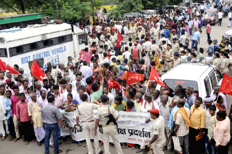CPI-ML workers stage a demonstration in Patna on July 23, 2018.