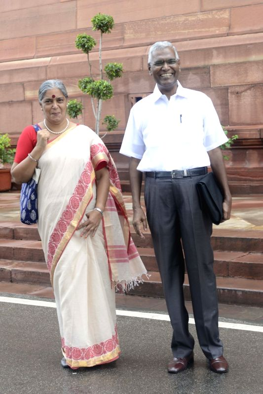 CPI MP D Raja at Parliament in New Delhi, on Aug 11, 2016.