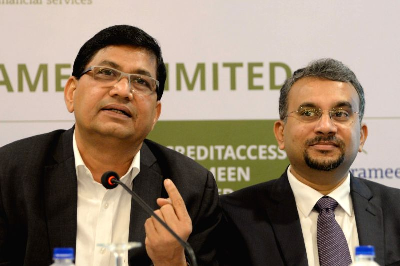 CreditAccess Grameen MD and CEO Udaya Kumar Hebbar addresses a press conference in Bengaluru on Aug 3, 2018. - Udaya Kumar Hebbar